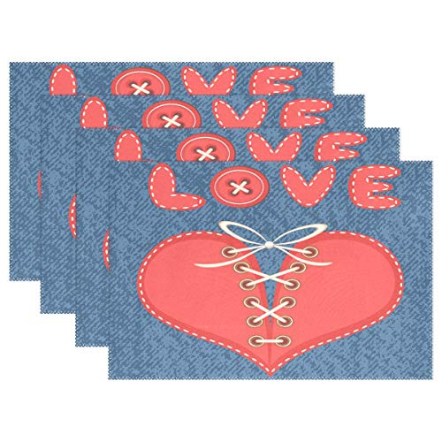 Love and Laced Heart with Jeans Placemats for Dining Table Heat Resistant Kitchen Table Decor Washable Table Mats Set of 4