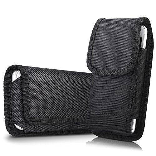 2 Pack Belt Pouch Case for iPhone 8 Plus 7 Plus 6S Plus 6 Plus, miadore Rugged Nylon Horizontal Phone Holster and Vertical Phone Holder with Belt Clip & Loops (Only Fit with Naked Phone or Slim Case)