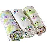 Adorable Premium Muslin Cotton Swaddling Blanket 3 Pack 47''x47''