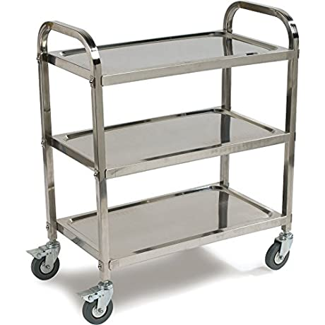 Carlisle 3 Shelf Knockdown Stainless Steel Utility Service Cart 400 Pound Capacity