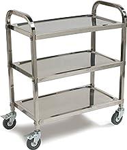 Carlisle UC4031529 Knockdown Stainless Steel 3 Shelf Utility / Service Cart, 400 lb. Capacity