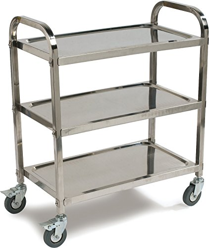 Carlisle UC4031733  Knockdown Stainless Steel 3 Shelf Utility / Service Cart, 400 lb. Capacity by Carlisle