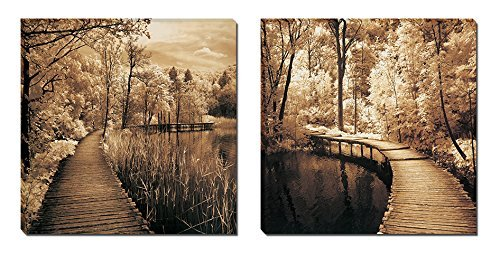 Mon Art 16x16 Inch Scenery Beautiful Greenway Highway Brown Trees Wooden Bridge Portray Modern Canvas Art Wall Decor Paintings Abstract PaintingsStretched and Framed