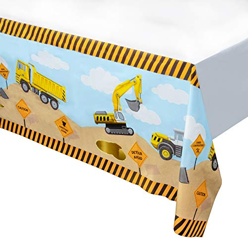 Construction Themed Birthday Parties (Construction Plastic Tablecloth - 6-Pack Construction Themed 54 x 108 Inch Table Decoration, Fits Up to 8-Foot Long Tables, Birthday Party Supplies, 4.5 x 9)