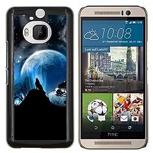 Eason Shop / Premium SLIM PC / Aliminium Casa Carcasa Funda Case Bandera Cover - Completo Lobos luna del aullido del lobo Estrellas - For HTC One M9+ M9 Plus