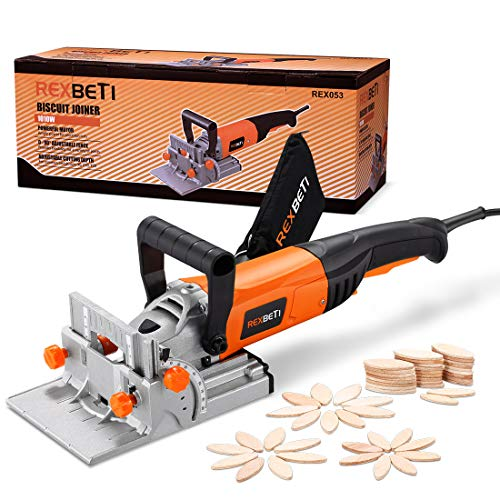 Find Bargain REXBETI Wood Biscuit Plate Joiner Kit with 4 Inch Tungsten Carbide Tipped Blade and 100...
