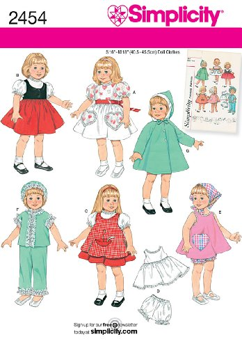 Simplicity Sewing Pattern 2454 Doll Wardrobe for 16
