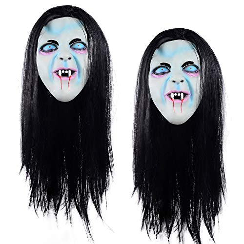 Ohuhu Halloween Ghost Mask Scream Costume Party Mask, Call of Duty Ghosts Masks, 2 Pack White, Black]()