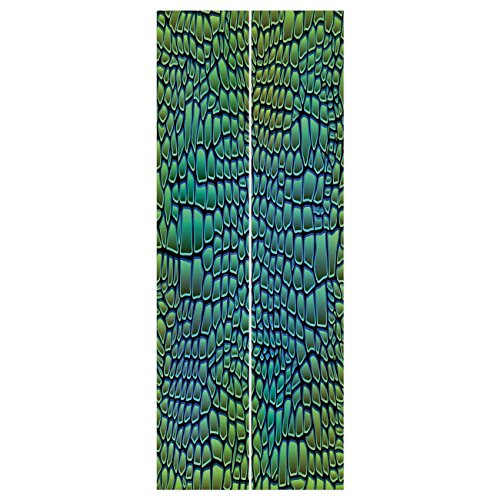 3d Door Wall Mural Wallpaper Stickers [ Abstract,Alligator Skin African Animal Crocodile Reptile Safari Wildlife Vibrant Artwork,Green Blue ] Mural Door Wall Stickers Wallpaper Mural DIY Home Decor ()