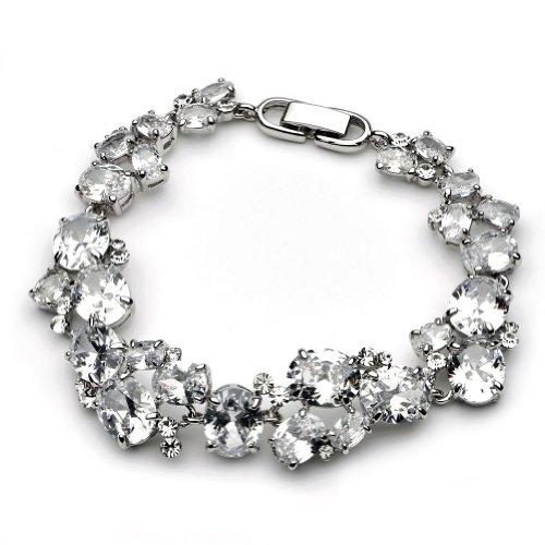 USABride Cubic Zirconia Bracelet, Silver Plated Special Occasion CZ Jewelry 1276