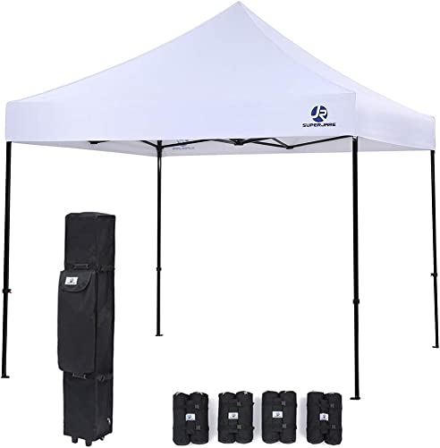 SUPERJARE Pop-up Canopy, 4 Weight Bags and a Wheeled Carry Bag, 10 Ft x 10 Ft Commercial Shelter, Outdoor Instant Folding Tent, Heavy Duty – White