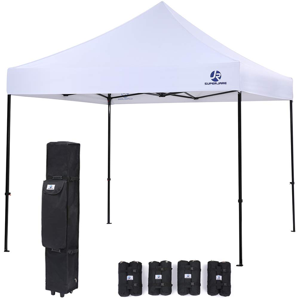 SUPERJARE Pop-up Canopy | 4 Weight Bags and a Wheeled Carry Bag | 10'x10' Commercial Shelter | Outdoor Instant Folding Tent | Heavy Duty - White