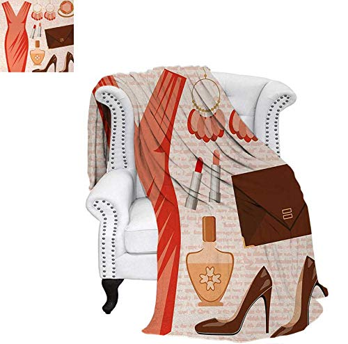 Oversized Travel Throw Cover Blanket Accessories Fashion Cocktail Dress Lipstick Earrings High Heels Super Soft Lightweight Blanket 60