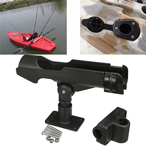 Gold Happy Rowing Boats Accessory Tool 360 Degrees Rotatable Fishing Rod Holder Bracket with Screws for Boat Assault Boats Kayaking Yacht by Gold Happy