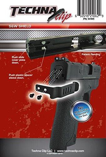 Techna Clip Gun Belt Clip - Smith & Wesson Shield .9MM .40 (Right Side)