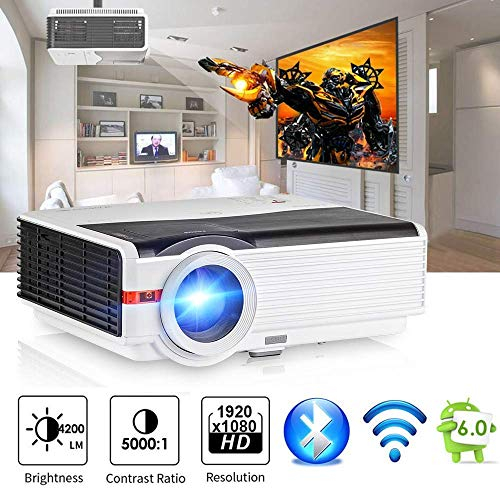 Smart Bluetooth HD Wireless Projector 4200 Lumen, 2018 Android 6.0 WXGA Video Projector Support WiFi 1080P Airplay APPs…