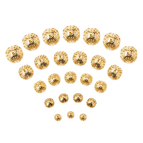 d Golden Color Iron Filigree Beads, Nickel Free, Size: about 6-16mm in diameter, 6-15mm thick, hole: 1-6mm, about 200g/bag ()