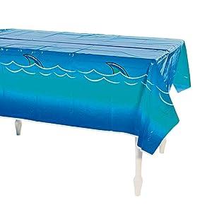 "OTC Awesome Shark Tablecloth/Table Cloth/Plastic 54"" x 108""/Pool Party/Jaws/Shark Week/Disposable Décor"