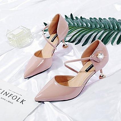 yalanshop Sharp Stiletto Heels - Hebilla con Sandalias de Piel para Gatos y Zapatos Huecos,