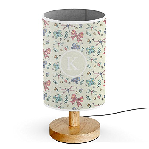 [ INITIAL LETTER K ] Monogram Name USB POWERED Wood Base Desk Table Bedside Lamp [ Cute Dragonfly Bow ] ()