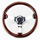 LR Universal 14'' steering wheel with horn, 6 bolts 3'' Dish, Mirrored Chrome Spoke (Wood)