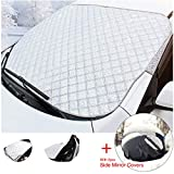 Thick Car Windshield Snow Cover,Winter Ice/ Frost Guard, Rain UV Sun Shade Weatherproof Guard Protector Hood Guard Fits most Cars, Minivan and SUV,180x95cm,5 Layer Extra Thick Come With A Pair of Side View Mirrors Covers