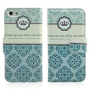 Caso floral del tirón del cuero del Faux de impresión con ranuras para tarjetas y soporte para iPhone 5/5S