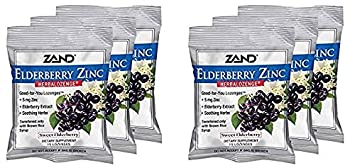 Zand HerbaLozenge Elderberry Zinc Good-for-You Lozenges for Dry Throats No Corn Syrup, No Cane Sugar, No Colors 15 Lozenge, 6 Bags