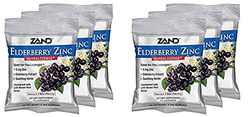 Zand HerbaLozenge Elderberry Zinc | Good-for-You Lozenges for Dry Throats | No Corn Syrup, No Cane Sugar, No Colors | 15 Lozenge, 6 Bags