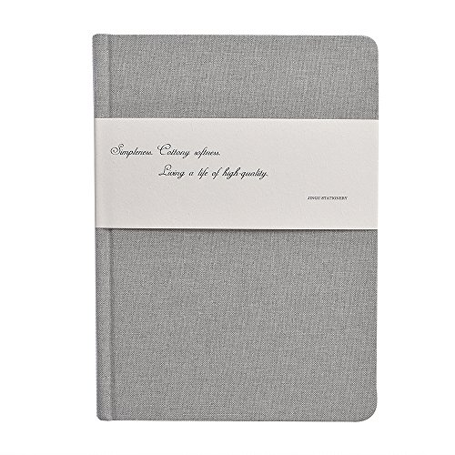 32ct Natural Linen (Linen Cloth Notebook/Journal, Aixingyun Medium Size A5 Hardcover Notpad with Premium Thick White Blank Papers and Black Card Papers, 7.5x5.2 In,96 Sheets(Light Gray))