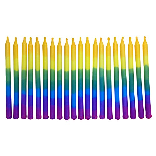 FLOMOUSA Birthday Cupcake/Cake Party Candles, Set of 20, 4-Inch Tall Candles, Hand-Dipped Purple, Blue, Green, Yellow]()
