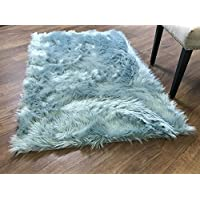 Serene Super Soft Faux Sheepskin Shag Silky Rug Baby Nursery Childrens Room Rug Teal, 5' x 7'