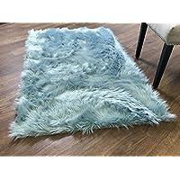 Serene Super Soft Faux Sheepskin Shag Silky Rug Baby Nursery Childrens Room Rug Teal, 5 x 7