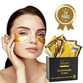 (24 PAIRS) Rejuvenating Under Eye Mask for Puffy Eyes – Dark Circles Under Eye Bags Treatment – 24k Gold Anti-Aging…