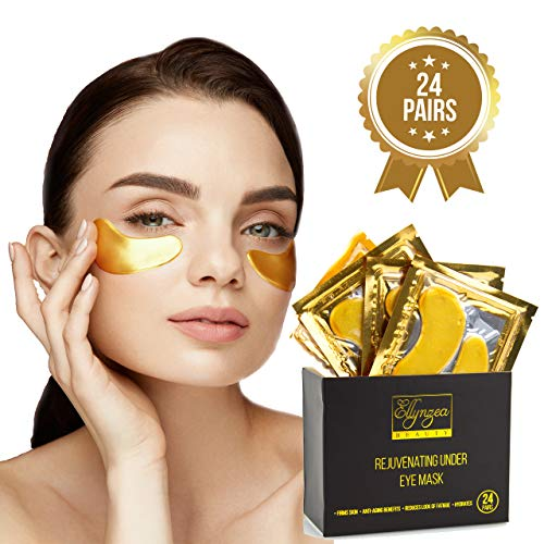 Puff Reducing Under Eye Gel - (24 PAIRS) Rejuvenating Under Eye Mask for Puffy Eyes - Dark Circles Under Eye Bags Treatment - 24k Gold Anti-Aging Under Eye Patches - Under Eye Pads w/Hydrating Gel - Wrinkle Care for Women and Men