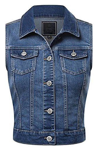 FASHION BOOMY Women's Classic Button Up Cropped Denim Jean Vest - Sleeveless Jacket - Regular and Plus Sizes (3XL, Blue_a) ()