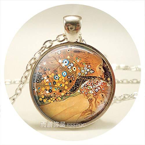 (Van Gogh Monet Klimt's Paintings Necklace Art Picture Print Glass Pendants Silver Color Chain Necklace Fashion Jewelry for Women)