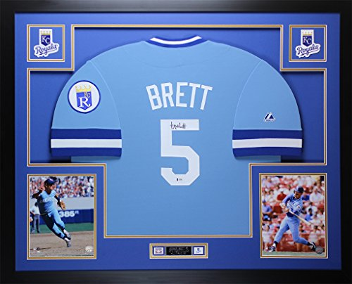 George Brett Autographed Blue Royals Jersey - Beautifully Matted and Framed - Hand Signed By George Brett and Certified Authentic by Auto Beckett COA - Includes Certificate of Authenticity