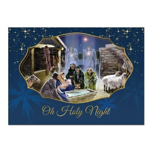 Card Nativity Christmas Scene (African American Expressions - Nativity Scene/Oh Holy Night Boxed Christmas Cards (15 cards, 5