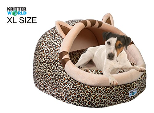 "KritterWorld Pet Cave Bed, Cozy Plush Dog Kennel with Pillow Cushion Mat for Puppy Cat Kitty Small Medium Animals to Snuggle Sleep Play, 23.5""x 23.5""x 15.5"" Large Size Jaguar Style For Sale"