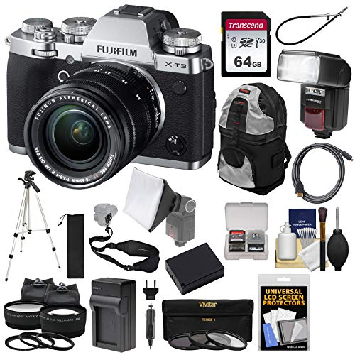Fujifilm X-T3 4K Wi-Fi Digital Camera & 18-55mm XF Lens (Silver) with 64GB Card + Battery + Charger + Flash + Backpack + Tripod + 2 Lens Kit