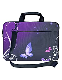 Meffort Inc 17 17.3 inch Canvas Laptop Shoulder & Hand Carrying Bag Case with Side Protection - Purple Butterfly Swirl