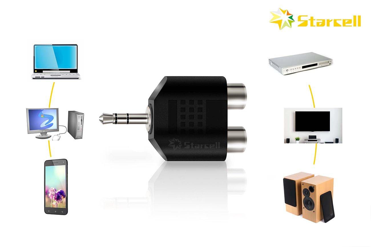Act Juego de 2 conectores est/éreo macho de 3,5 mm a 2 conectores RCA hembra de audio y divisor en Y