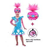 Trolls Costume GREATCHILDREN Trolls Poppy Cosplay Halloween Clothing Clothes Kids Fancy Girl Dress Wig Necklace