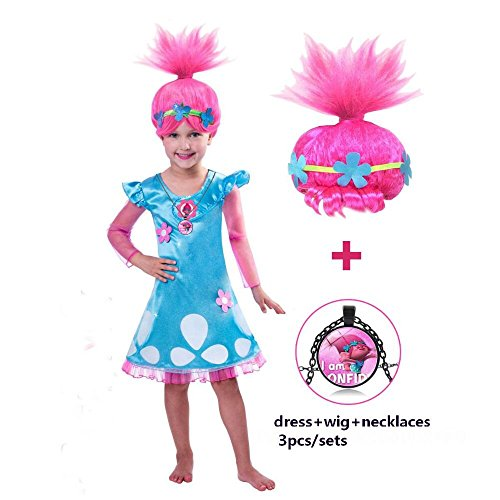 Trolls?Costume?GREATCHILDREN?Trolls?Poppy?Cosplay??Halloween?Clothing?Clothes?Kids?Fancy?Girl?Dress?Wig?Necklace?