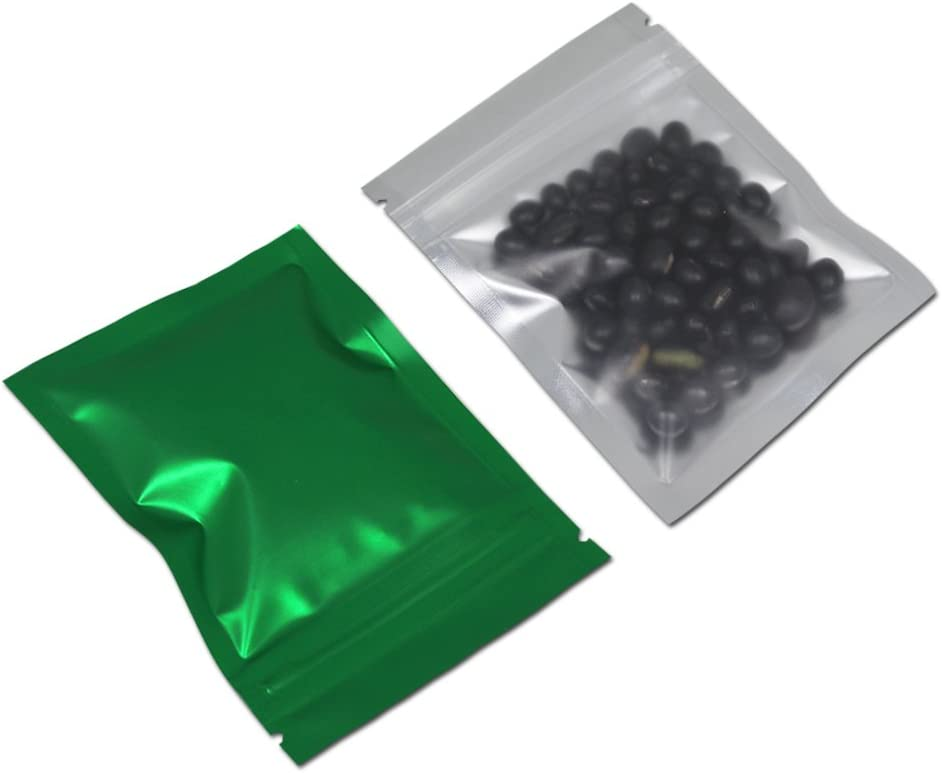 100 Pcs Mylar Smell Proof Zipper Lock Food Storage Bag Aluminum Foil Airtight Bag Front Matte Clear Plastic Packaging Pouch for Zip Flat Heat Seal Lock Resealable (7.5x10cm (3x3.9 inch), Matte Green)