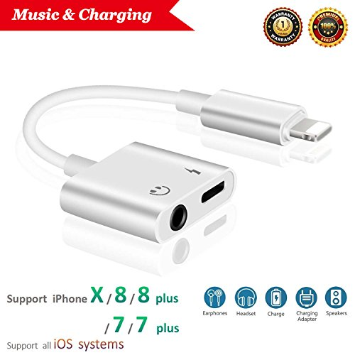 Lightning Jack Headphone Adaptor Charger 8/8 Plus iPhone 7/7 Plus/iPhone X 10/iPad/iPod Earphone Adapter Headphone AUX Audio & Charge Adaptor,Connector Lightning Cable Suppor iOS 11 System