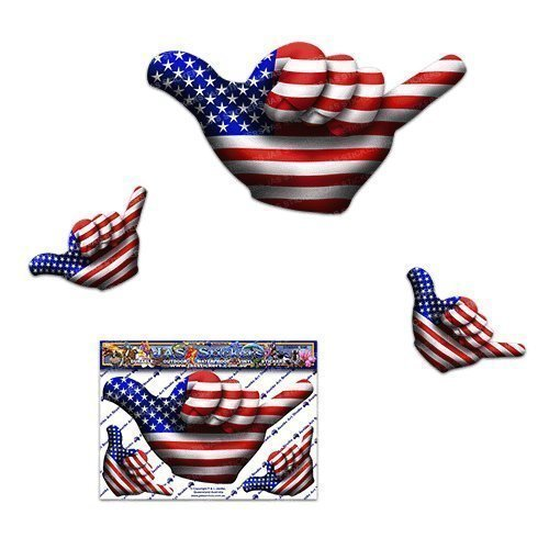 Small American USA Flag Hangloose Funny Car Stickers Decals - ST00055_SML - JAS Stickers