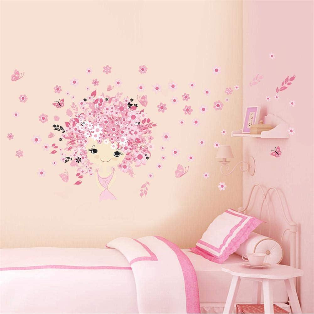 Stickers muraux enfant fleur Fee et papillons M1T4