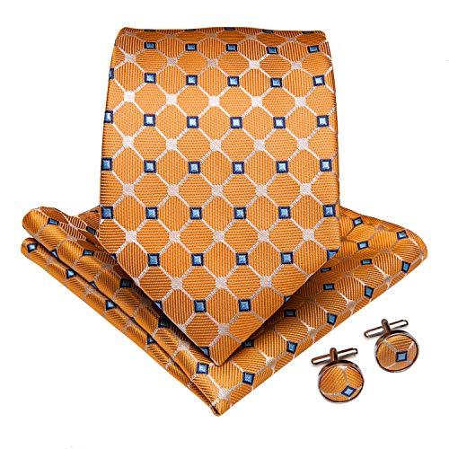DiBanGu Orange Checks Tie Mens Formal Necktie and Pocket Square Cufflinks Tie Clip Set Wedding